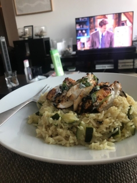 Chicken with courgette rice